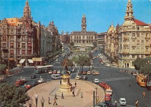 Portugal Porto Liberdade Square and Aliados Avenue Statue Cars Voitures