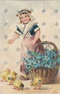 EASTER Greetings, Girl, basket of blue flowers, chicks, 1901-07; TUCK