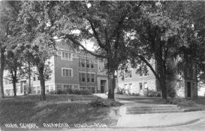 Anamosa Iowa~High School (Street View of Entry Walkway)~1940s RPPC-Postcard