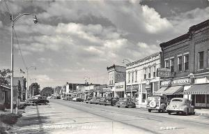 Frankfort MI Street View Store Fronts Woodie Old Cars RPPC Postcard