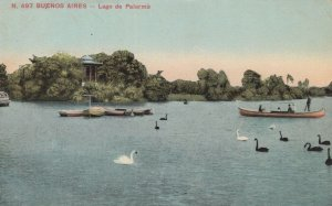 Palermo Buenos Aires Lago Argentina Rowing Boat Old Postcard