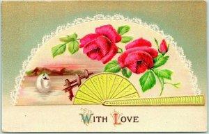 Vintage 1910s Greetings Embossed Postcard WITH LOVE Red Roses / Japanese Fan