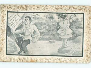 Pre-Linen Comic WOMAN HOOKS MAN ON EAR WHILE FISHING AB8541