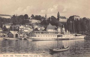 Thonon Rives France View from the Lake Antique Postcard J64088