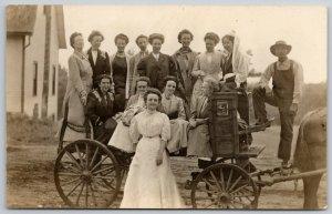 RPPC Formal Picture on Country Wagon~Farmer w/Bibs~Honest Scrap Tobacco c1910 PC