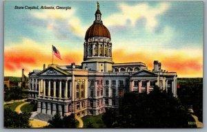 Postcard Atlanta GA c1940s State Capitol Georgia State Capitol Linen