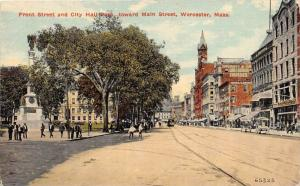 massachusetts  Worcester, Front Street and City Hall Park