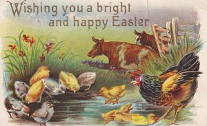 EASTER, PU-1908; Well Wished, Cattle, Hen & her chicks by the pond