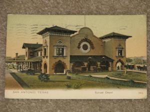 Sunset Depot, San Antonio, Texas, used vintage card