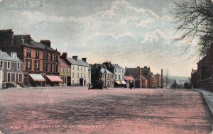 High Street, Moffat, with Monument, Scotland, Early Postcard, Unused