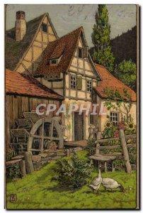 Old Postcard Fantasy Illustrator house water mill