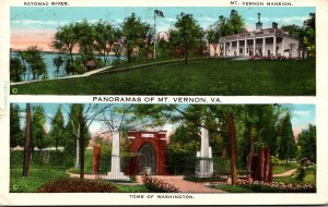 Virginia Mount Vernon Panoramas Showing The Mansion Potomac River and Tomb Of...