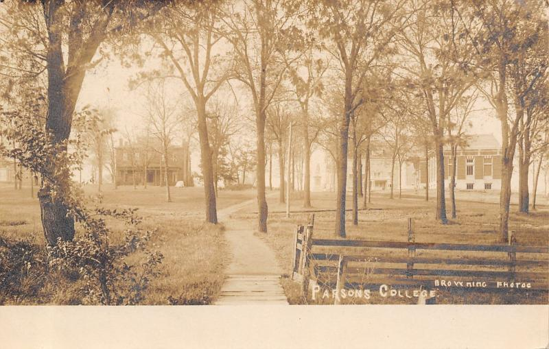 Fairfield Iowa~Parsons College Buildings~Campus Path Thru Trees~1908 Sepia RPPC
