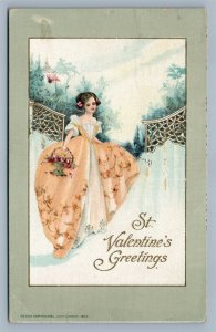 ST. VALENTINE'S GREETINGS 1915 EMBOSSED ANTIQUE POSTCARD by JOHN WINSCH