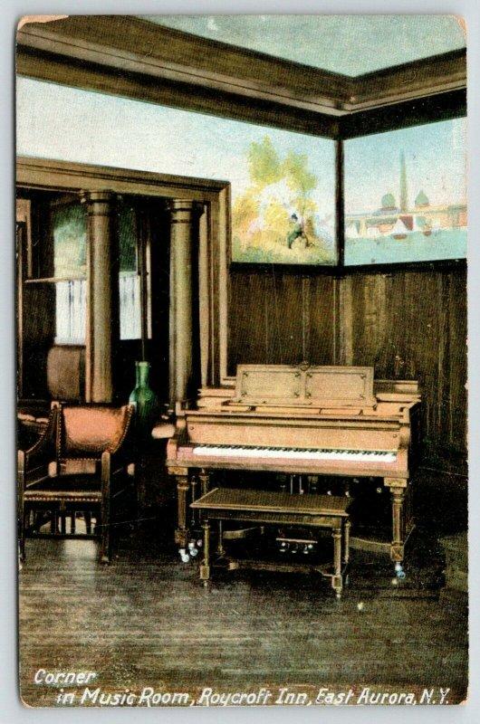 East Aurora New York~Roycroft Inn~Piano in Corner of Music Room~1910 Postcard