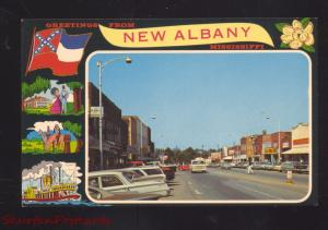 NEW ALBANY MISSISSIPPI DOWNTOWN STREET SCENE 1960's CARS VINTAGE POSTCARD