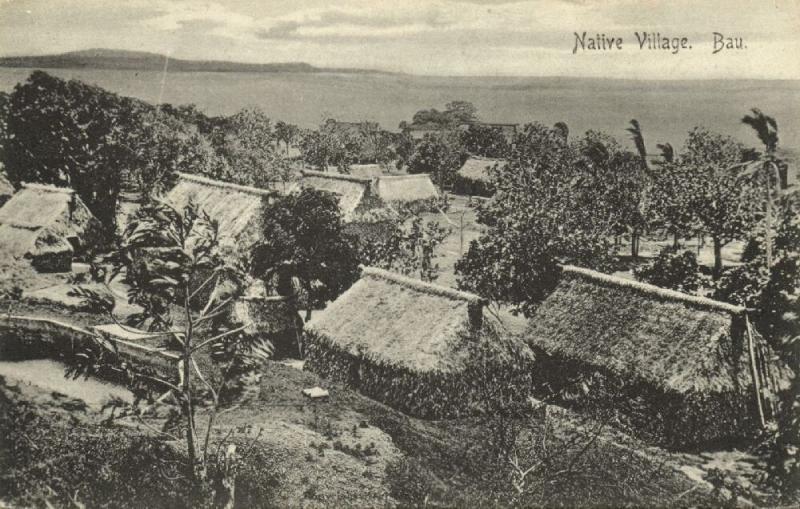 fiji islands, BAU, Native Village Scene (1910s)