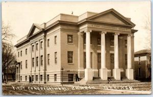 York, Nebraska Real Photo RPPC Postcard First Congregational Church c1910s