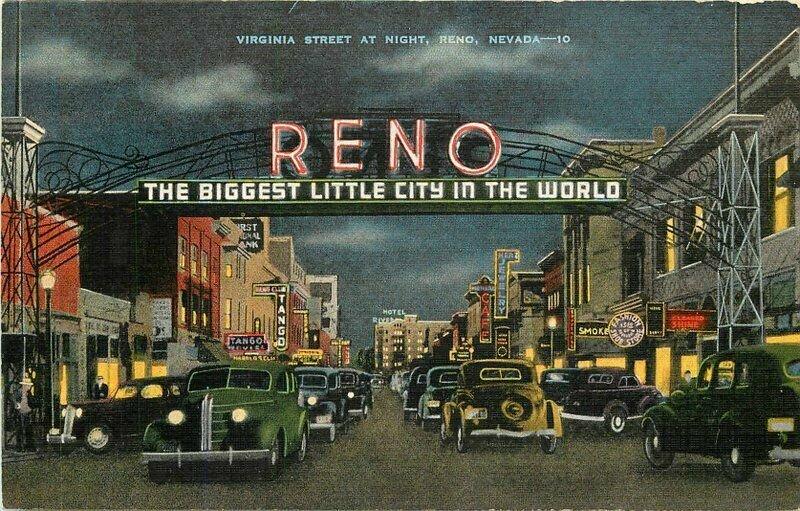 Automobiles Virginia Street Night Reno Nevada Truckee River 1940s Postcard 6544