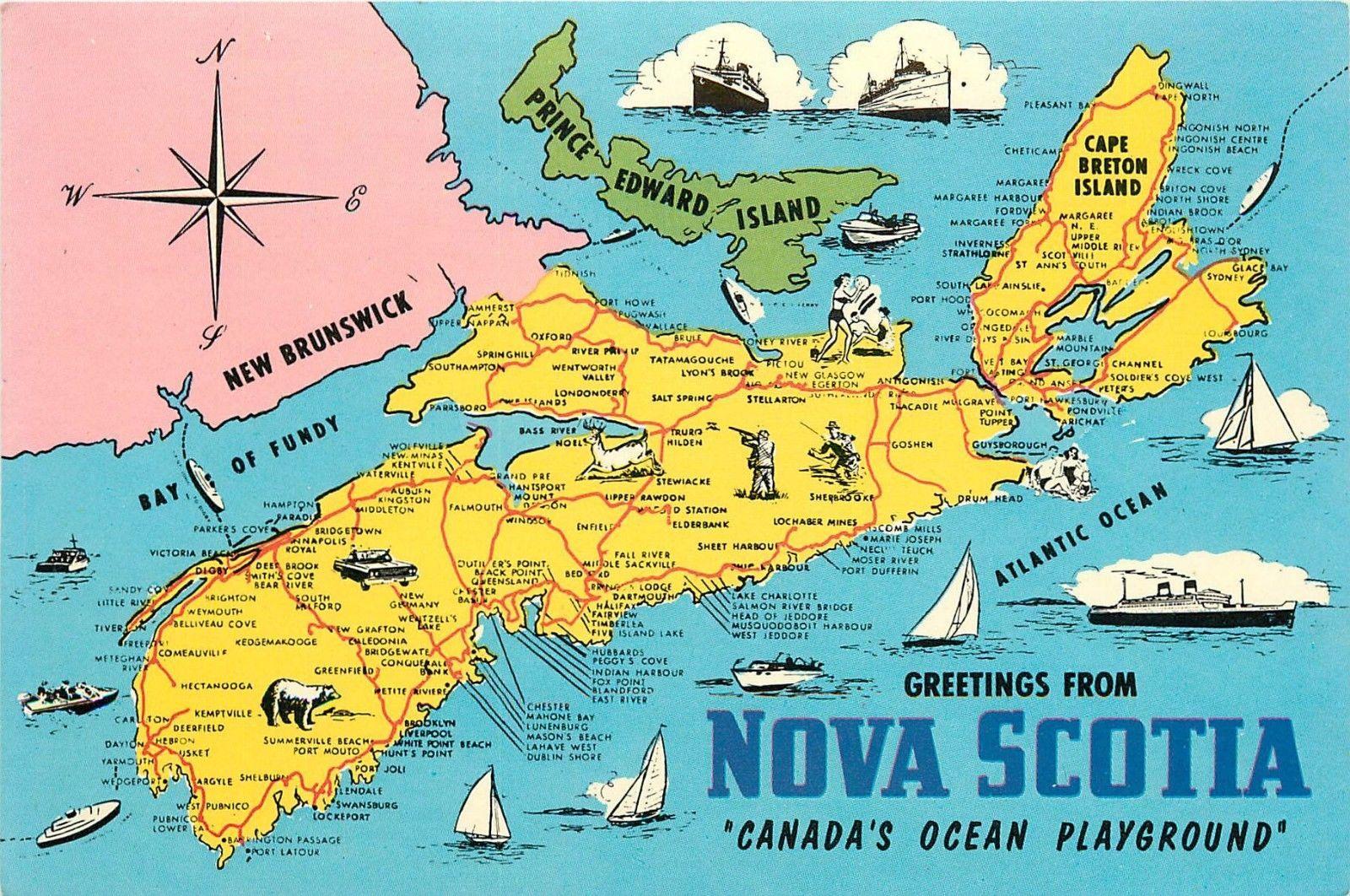 Nova Scotia Canada Map Greetings Pei New Brunswick Cape