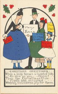 Christmas~ART DECO~Family Carries Merry Wishes Signage~Red Blue Green Black~1920