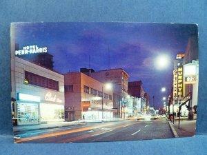 Postcard PA Harrisburg Vintage Market Street View at Night