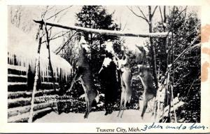 Michigan Traverse City Deer Hunter Trophies 1944 Real Photo
