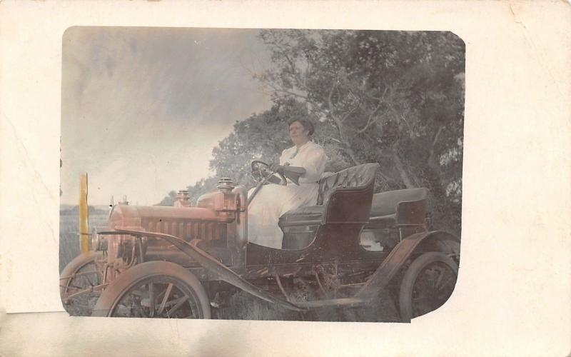 Pierre South Dakota~Lady in Her 1908 Model Buick~Driving Gloves~Colorized RPPC