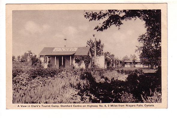 Clark's Tourist Camp, Stamford Centre, Highway 8, Niagara Falls, Ontario, B&W...