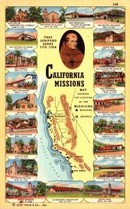 California Map Of California Missions Curteich
