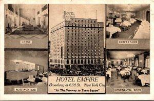 New York City Hotel Empire Lobby Coffee Shop Platinum Bar & Continental Dinin...