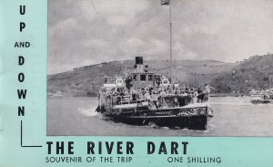 Up & Down The River Dart Map Postcard Old Guide Book