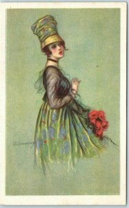Vintage Italian Artist-Signed Postcard Pretty Lady Hat Dress Fashion Unused