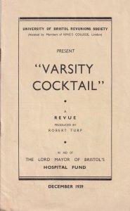 Varsity Cocktail 1939 WW2 Hospital Fund Musical Bristol Theatre Programme