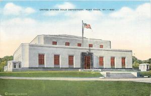 Fort Knox Kentucky~United States Gold Depository~1940s Linen Postcard
