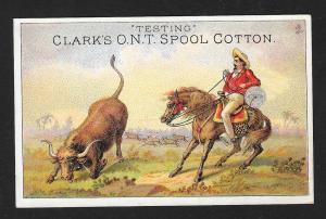 VICTORIAN TRADE CARD Clark's Thread Cowboy Horse Bull