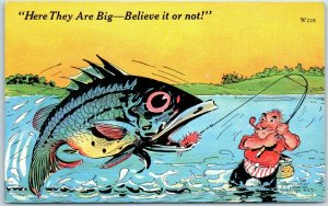 1940s RAY WALTERS Postcard Here They Are Big Fishing Comic KROPP Linen W228
