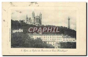 Old Postcard Lyon Fourviere and Church Tour Metallique