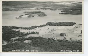 BIRCHWOOD,WI Air View of Lake Chetac RPPC Postcard