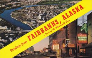FAIRBANKS, Alaska, 1940-1960's; Aerial View, Night Scene Of Main Street