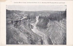 New York Letchwworth Park Genesee River Gorge Showing Old Wooden Bridge and C...