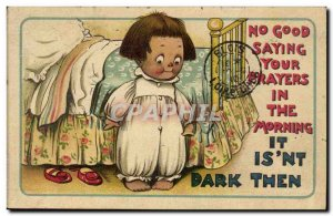 Old Postcard Illustrator No good Saying your prayers in the morning it isn & ...