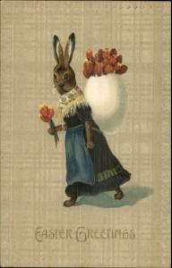 Easter Fantasy - Dressed in Clothes Carrying Egg Backpack w/ Flowers Postcard