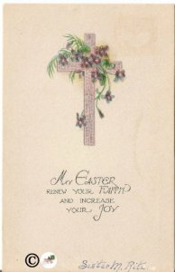 Purple Cross Decorated with Palm Fronds and Purple Violets Vintage Postcard