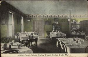 Lisbon Falls ME Maine Central House Dining Room c1910 Postcard