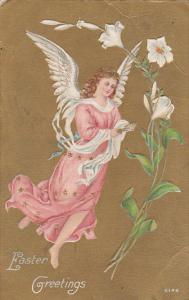 Easter Greetings, Angel holding book, White Flower, gold background, 00-10s