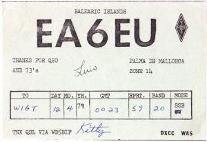 QSL, EA6EU, Balearic Islands, 1979