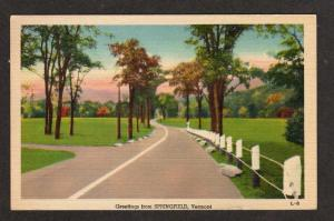 VT Greetings from SPRINGFIELD VERMONT Postcard Linen PC