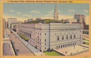 Ohio Cleveland Public Auditorium Showing Terminal Tower 1943