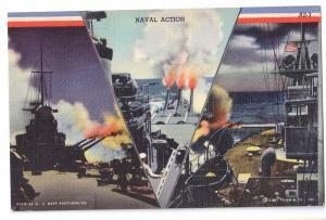 Naval Action Vintage 1942 WWII Curteich Linen Postcard
